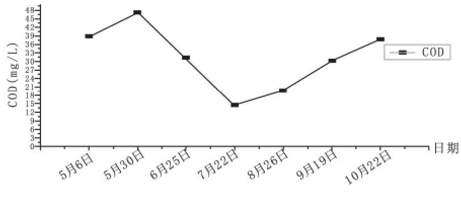 图1 祁家豁子闸COD浓度变化曲线