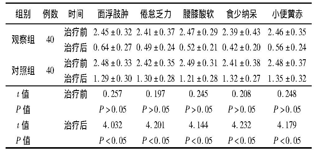 表2 两组治疗前后中医证候积分比较