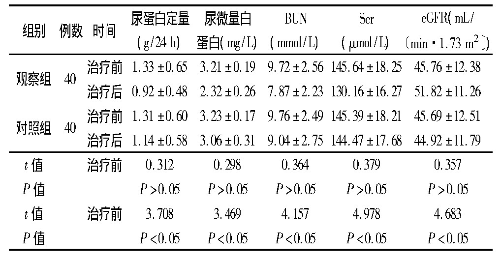 表3 两组治疗前后肾功能各指标比较
