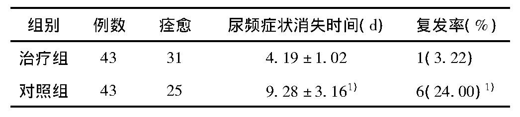 表2 2组患儿尿频症状消失时间及复发率比较